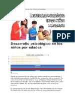 Desarrollo psicológico en los niños por edades
