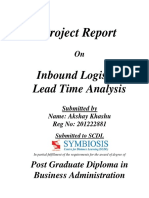 1. Inbound Lead Time Analysis