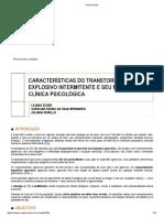 CARACTERÍSTICAS DO TRANSTORNO EXPLOSIVO INTERMITENTE