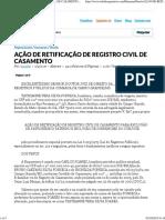 AÇÃO DE RETIFICAÇÃO DE REGISTRO CIVIL DE CASAMENTO