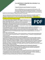 LA IMPORTANCIA DE LA GESTION DE  DESASTRE EN LA ESCUELA Y LA COMUNIDAD