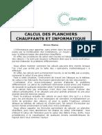 LE CALCUL DES PLANCHERS CHAUFFANTS