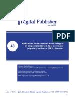 ARTICULO PUBLICADO DE APLICACIÓN DE LA COMUNICACIÓN INTEGRAL EN EMPRENDIMIENTOS DE LA EPS, ECUADOR