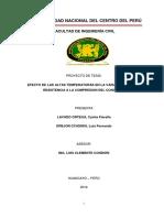 PLAN DE TESIS EFECTO DE LAS ALTAS TEMPERATURAS EN LA VARIABILIDAD DE LA RESISTENCIA A LA COMPRESION DEL CONCRETO