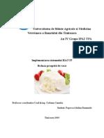 Implementarea Sistemului HACCP  Branza Prospata de Vaca