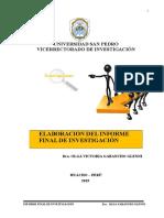 ESTRUCTURA INFORME FINAL DE INVESTIGACIÓN