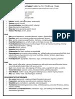 BTB Mental Status Review Sheet
