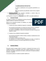 CLASIFICACIÓN DE PROYECTOS DE INVERSIÓN