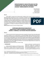 24614 Análise do comportamento sob extrusão de pós nanoestruturados de ligas de alumínio como um processo termicamente ativo
