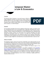 EUROPEAN MASTER IN LAW & ECONOMICS Summary for Employers