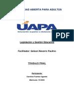 TRABAJO FINAL LEGISLACION Y GESTION EDUCATIVA