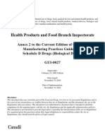 HEALTH CANADA Annex 2 to the Current Edition of the GMP Biological Drugs GUI-0027-eng