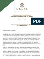 CARTA PAPA FRANCISCO DIA DEL ENFERMO 2020