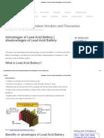Advantages of Lead Acid Battery,disadvantages of Lead Acid Battery