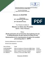 Etude préventive de la formation des hydrates lors de la déshydratation du gaz naturel de Hassi R-mel optimisation de la consommation du glycol du module processing plant 4  MPP4