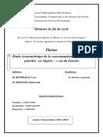Etude économétrique de la consommation d'un produit pétrolier en algérie