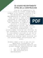 MATERIALES USADOS RECIENTEMENTE EN LA INDUSTRIA DE LA CONSTRUCCION