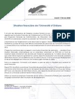 Communiqué de Presse - Situation Financière de l'Université d'Orléans
