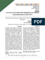 Gerencia de la educación adaptada a la realidad venezolana para el año 2017