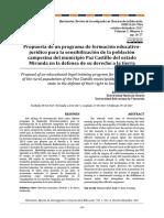Propuesta de un programa de formación educativojurídico para la sensibilización de la población campesina del municipio Paz Castillo del estado Miranda en la defensa de su derecho a la tierra