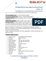 FICHA TECNICA - TRANSFORMADOR MONOFASICO
