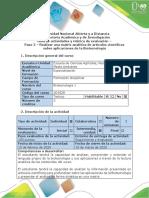 Guía de actividades y rubrica de evaluación - Paso 2 - Realizar una matriz analítica de artículos científicos sobre aplicaciones de la Biotecnología