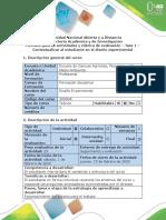 Guía de actividades y rúbrica de evaluación - Fase 1 - Contextualizar al estudiante en el diseño experimental
