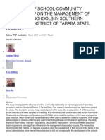 INFLUENCE OF SCHOOL-COMMUNITY RELATIONSHIP ON THE MANAGEMENT OF SECONDARY SCHOOLS IN SOUTHERN SENATORIAL DISTRICT OF TARABA STATE, NIGERIA