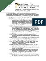 REGLAMENTO INTERNO DEL LABORATORIO DE QUIMICADEl INSTITUTO TECNOLOGICO DE TLALPAN