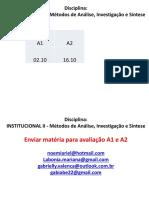 AULAS - INSTITUCIONAL II - ESTUDAR PARA A1  E  A2