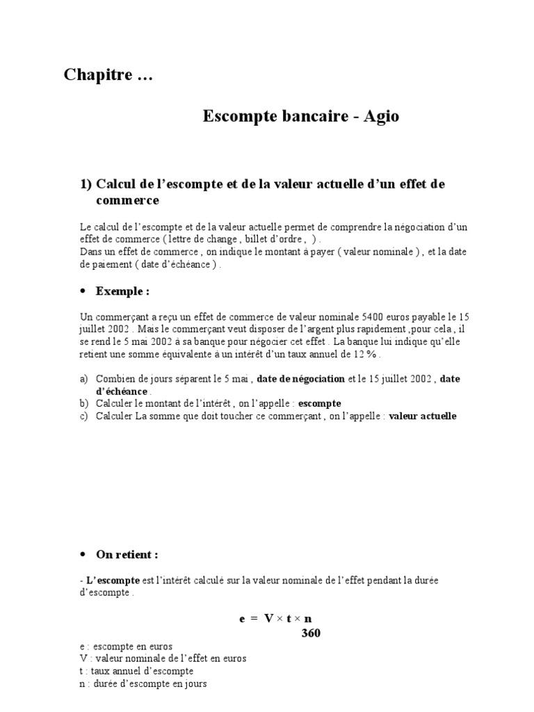 Cours Banc Agio