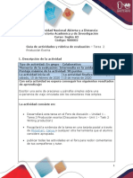 Guía de actividades y rubrica de evaluación - Unidad 1 - Tarea 2 - Producción escrita