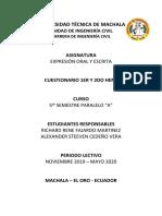 Cuestionario expresión oral