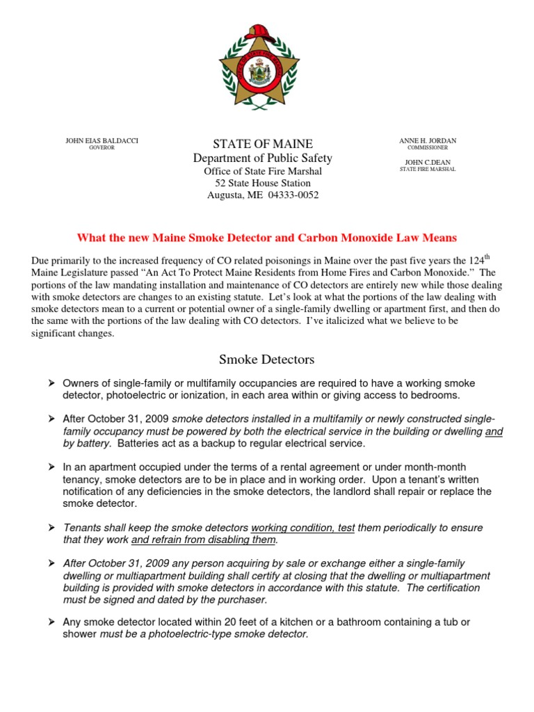 Maine Smoke And Co Detector Law Explained June09 Leasehold