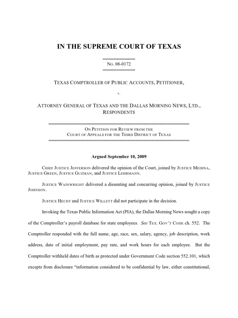texas comptroller of public accounts v attorney general of texas and the dallas morning news freedom of information act united states identity theft