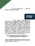 AÇÃO DE ANULAÇÃO PARCIAL DE REGISTRO CC C RECONHECIMENTO DE PATERNIDADE