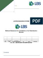 Method Statement LV Distribution Boards Installation