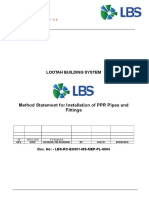 Method Statement for PPR Pipes and Fittings Installation