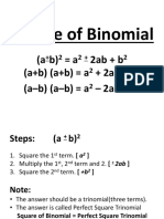 2. Square of Binomial, Product of Sum and Diff, Square of Multinomial
