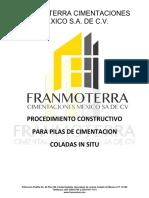 PROCEDIMIENTO CONSTRUCTIVO DE PILAS COLADAS IN SITU