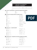 Ficha de Trabalho 11 - 12 Ano - Operacoes com Logaritmos, Equacoes e Inequacoes