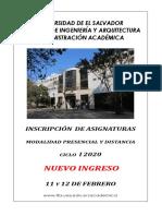 instructivo nuevo ingreso I 2020