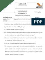 Cuestionario  de hidrostática