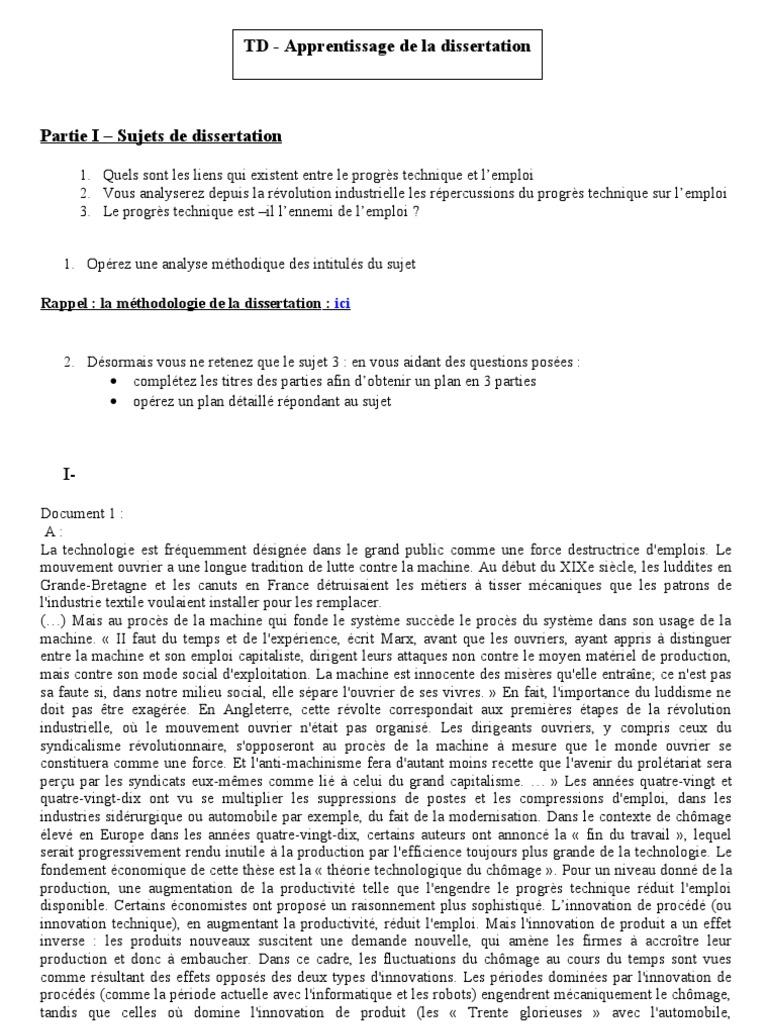 Td Methodologie De La Dissertation A Partir Du Theme Relation Entre Progre Technique Productivite Et Emploi Changement Technologique Croissance Economique Sur Revolution Industrielle