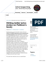 Writing better lyrics (notes on Pattison's book) | Oxford Songwriting