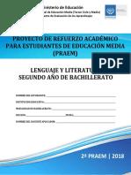 Segunda Prueba de Avance de Lenguaje y Literatura - Segundo Año de Bachilllerato - PRAEM 2018
