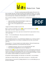 The Was Reduction Team print-out