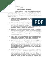 Affidavit of Arrest for Drugs