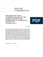 2001 the Rights of Small-Numbered Peoples of the Russian North in the Territories of Traditional Nature