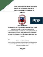 Tesis de Maestria DESARROLLO DE UN PROGRAMA COMPUTACIONAL PARA LA DETERMINACIÓN DE ESTADOS DE CARGA EN TRANSFORMADORES DE POTENCIA BASADO EN MODELOS DE CARGA Y CÁLCULOS APROXIMADOS PARA REDES DE 10 KV DE ELFEC BASADO EN DATOS EN TIEMPO REAL DEL SCADA.